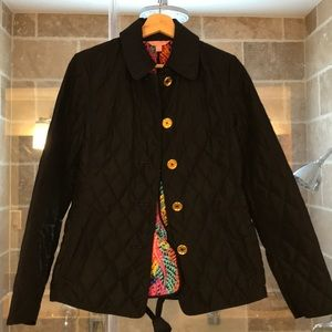 Lilly Pulitzer lightweight quilted black jacket